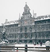 antwerp at winter snowstorm - stock photo