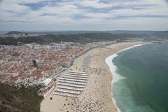nazare beach in portugal - stock photo