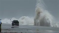 Giant Hurricane Wave misses car - stock footage