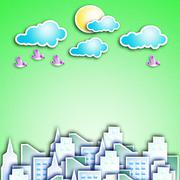 Modern city with a cloud in the sky the sun and birds. Stock Illustration