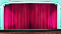 Theater curtains opening red pink Stock Footage