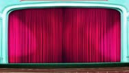 Stock Video Footage of Theater curtains opening red pink