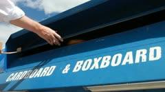 Cardboard recycling bin Stock Footage