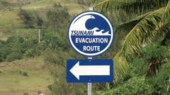 Tsunami Evacuation Sign Stock Footage
