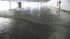 Hurricane storm surge fills up parking garage Stock Footage