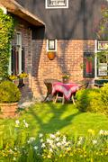 Traditional dutch house with garden Stock Photos