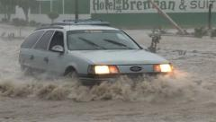 Hurricane flooding cars Stock Footage