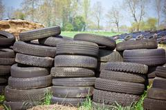 Pile of old tires Stock Photos