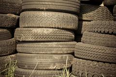 pile of old tires - stock photo