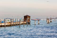 sea pier in venice - stock photo