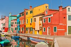 burano's bright houses - stock photo