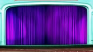 Theater curtains opening blue Stock Footage