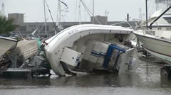 Hurricane aftermath motor boats - stock footage