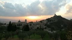 Sunset over Olive groves Assisi Stock Footage