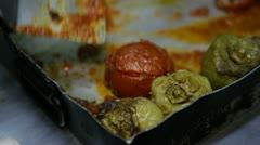 Greek dish in roasting pan Stock Footage