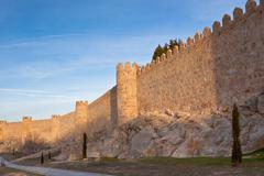 Fortress wall and towers in avila Stock Photos