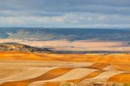 Stock Photo of fields and hills of spain at winter