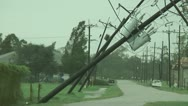 Hurricane damage downed power poles wires Stock Footage