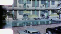 PALM BEACH FLORIDA Motel Pool Parking 1960s Vintage Old Retro Film Home Movie Stock Footage