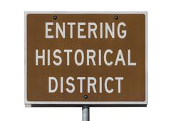entering historical district road sign isolated - stock photo