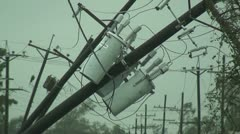 Hurricane Power Poles damaged - stock footage
