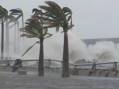 Hurricane crashing storm surge - stock footage