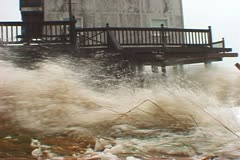 Incredible Hurricane Storm Surge Wave Stock Footage