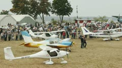 Crowd of people in Odessa Festival of small aircraft Stock Footage