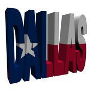 dallas 3d text with texan flag on white illustration - stock illustration