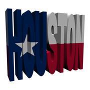houston 3d text with texan flag on white illustration - stock illustration