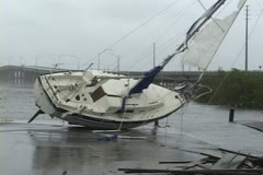 Hurricane grounds sailboat Stock Footage