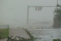 Hurricane Katrina Storm Surge covers highway Stock Footage