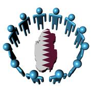circle of abstract people around qatar map flag illustration - stock illustration