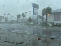 Hurricane wind blown debris Stock Footage