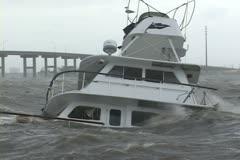 Hurricane Jean sinks a yacht Stock Footage