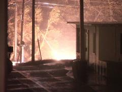 a power transformer catches fire during hurricane Jeanne - stock footage