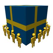 Stock Illustration of workers surrounding sweden flag cube illustration