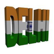 delhi 3d text with indian flag on white illustration - stock illustration