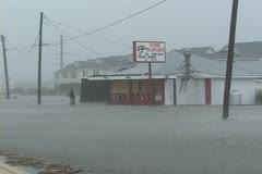 Hurricane Flooding Restaurant Stock Footage
