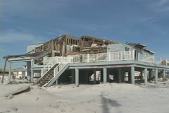 Hurricane Ivan beach home aftermath - stock footage