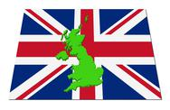 Britain 3d render map on their flag illustration Stock Illustration