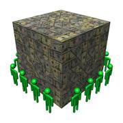 workers surrounding giant dollar cube illustration - stock illustration