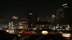 Seoul Neon Street Euljiro by night, Asian Shopping, Shoppers in South Korea Stock Footage