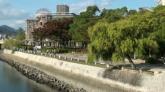 Atomic Bomb Dome promenade river nuclear bombing Second World War Japan Stock Footage