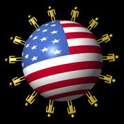 Circle of abstract people around american flag sphere illustration Stock Illustration