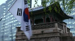 South Korea, Flag, Seoul Dongsibjagak Watchtower, Gyeongbokgung, time lapse Stock Footage