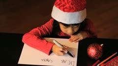 Six Year Old Girl Writing Santa Claus Stock Footage