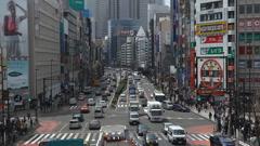 Shinjuku Neon Sign Busy Shopping Street Tokyo Japan Day Traffic Crowds Tokio Stock Footage