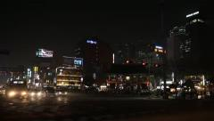 Seoul Neon Street Euljiro by night, Asian Shopping, Shoppers time lapse Stock Footage