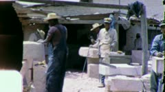 Men Cut MARBLE STONE CUTTERS Quarry Mexico 1950s Vintage Film Home Movie) 5819 Stock Footage